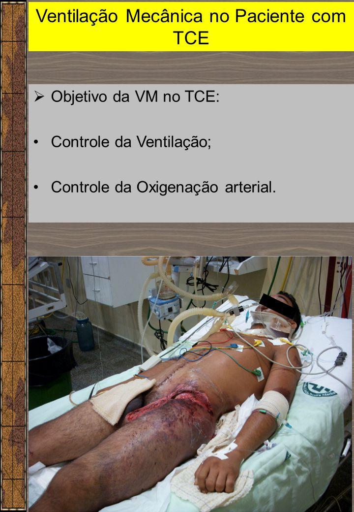 15 Ventilação Mecânica no Paciente com TCE  Objetivo da VM no TCE: Controle da Ventilação; Controle da Oxigenação arterial.