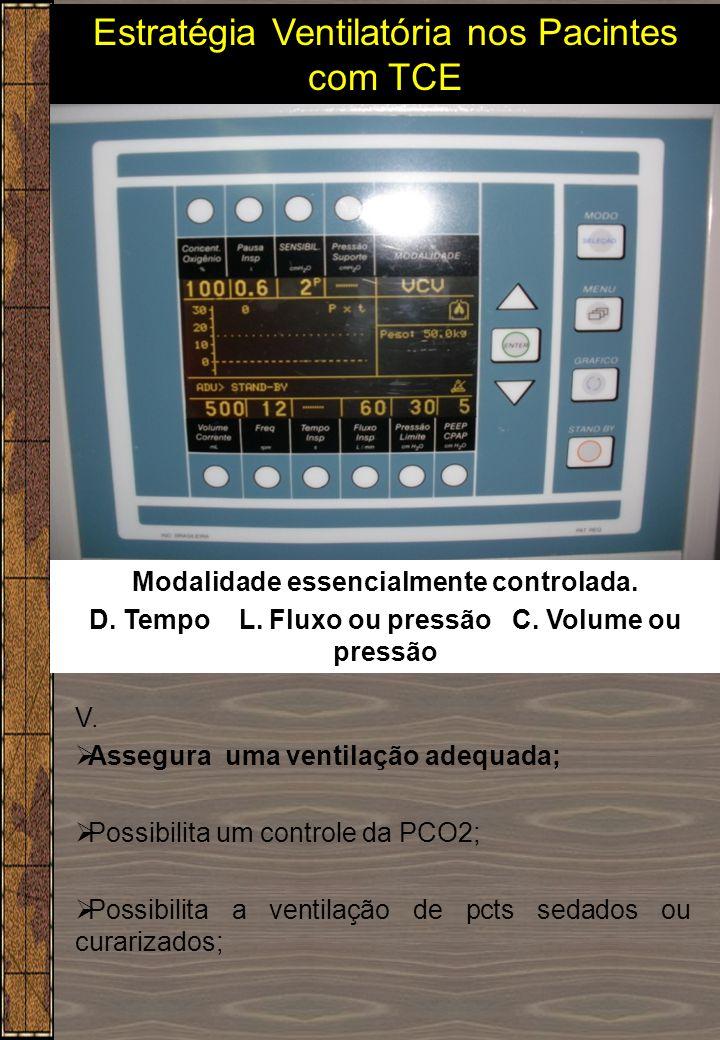 V.  Assegura uma ventilação adequada;  Possibilita um controle da PCO2;  Possibilita a ventilação de pcts sedados ou curarizados; Modalidade essenc