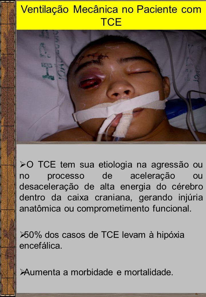 2 Ventilação Mecânica no Paciente com TCE Dr. Sérgio Cruz  O TCE tem sua etiologia na agressão ou no processo de aceleração ou desaceleração de alta