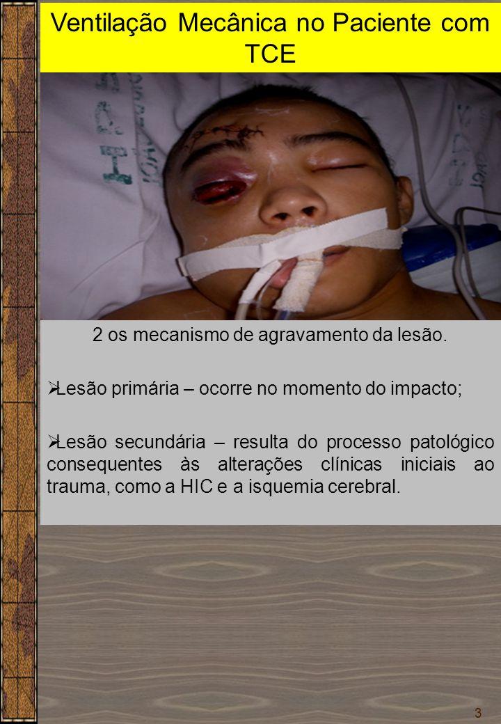 3 Ventilação Mecânica no Paciente com TCE Dr. Sérgio Cruz 2 os mecanismo de agravamento da lesão.  Lesão primária – ocorre no momento do impacto;  L