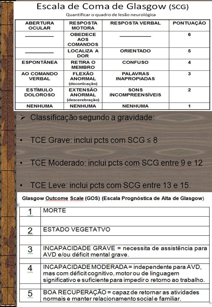 4  Classificação segundo a gravidade: TCE Grave: inclui pcts com SCG ≤ 8 TCE Moderado: inclui pcts com SCG entre 9 e 12 TCE Leve: inclui pcts com SCG