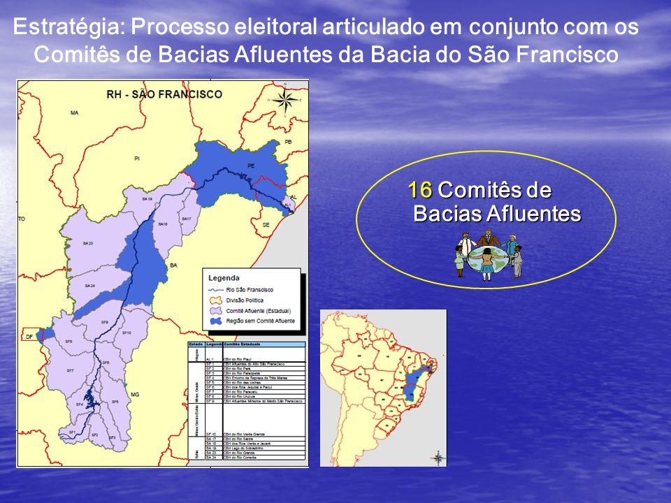 Estratégia: Processo eleitoral articulado em conjunto com os Comitês de Bacias Afluentes da Bacia do São Francisco 16 Comitês de Bacias Afluentes Bacias Afluentes
