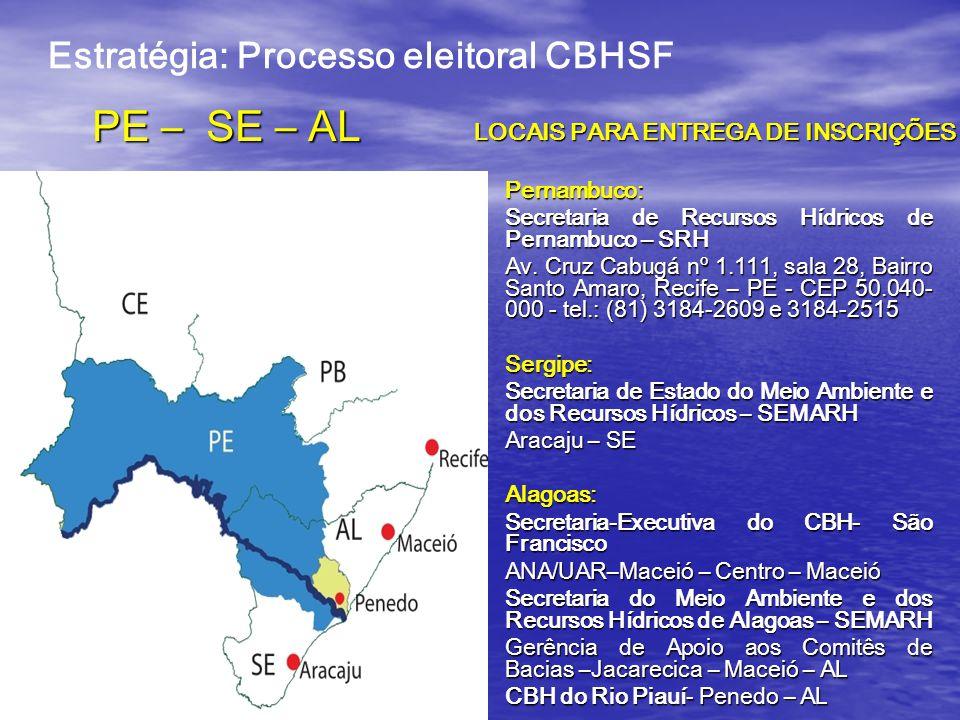 PE – SE – AL Pernambuco: Secretaria de Recursos Hídricos de Pernambuco – SRH Av.