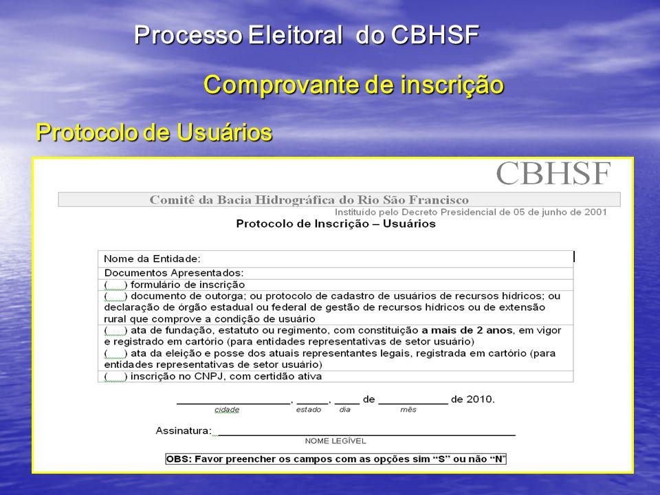 Comprovante de inscrição Protocolo de Usuários Processo Eleitoral do CBHSF