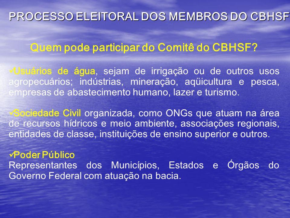 Quem pode participar do Comitê do CBHSF.