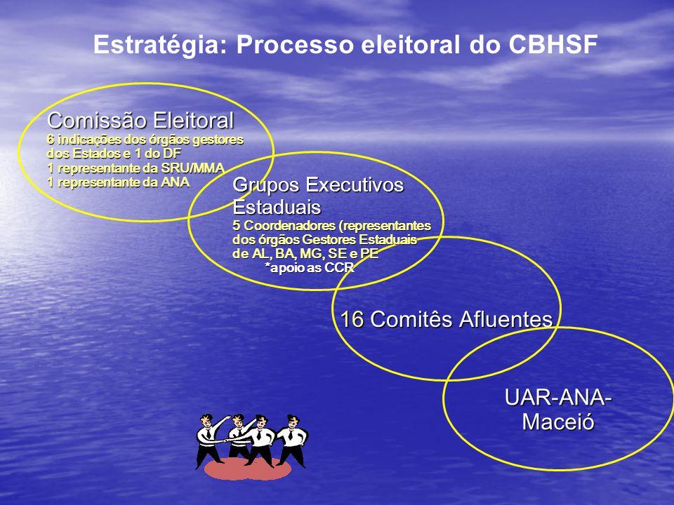 Estratégia: Processo eleitoral do CBHSF 16 Comitês Afluentes Comissão Eleitoral 6 indicações dos órgãos gestores dos Estados e 1 do DF 1 representante da SRU/MMA 1 representante da ANA Grupos Executivos Estaduais 5 Coordenadores (representantes dos órgãos Gestores Estaduais de AL, BA, MG, SE e PE *apoio as CCR *apoio as CCR UAR-ANA-Maceió