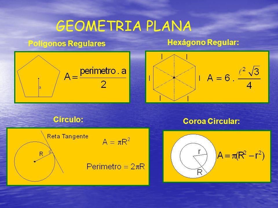 Polígonos Regulares Hexágono Regular: Círculo: Coroa Circular: GEOMETRIA PLANA