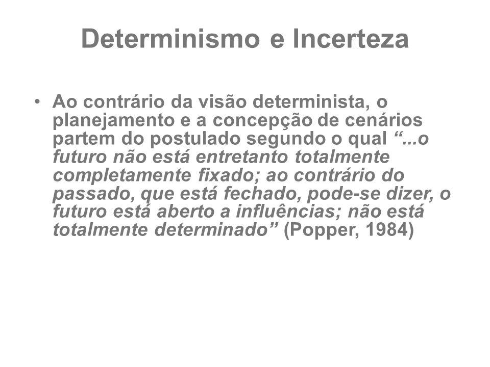 """Determinismo e Incerteza Ao contrário da visão determinista, o planejamento e a concepção de cenários partem do postulado segundo o qual """"...o futuro"""