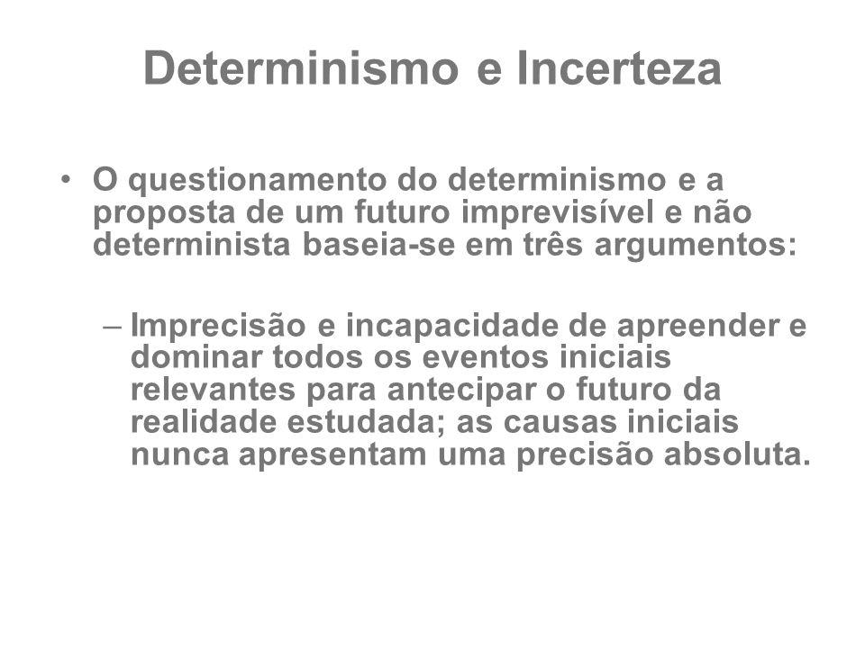 Determinismo e Incerteza O questionamento do determinismo e a proposta de um futuro imprevisível e não determinista baseia-se em três argumentos: –Imp