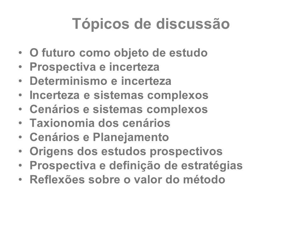 Tópicos de discussão O futuro como objeto de estudo Prospectiva e incerteza Determinismo e incerteza Incerteza e sistemas complexos Cenários e sistema