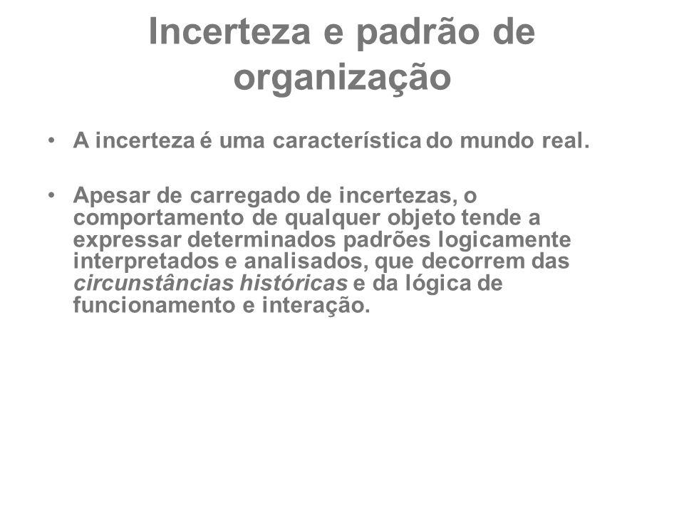 Incerteza e padrão de organização A incerteza é uma característica do mundo real. Apesar de carregado de incertezas, o comportamento de qualquer objet