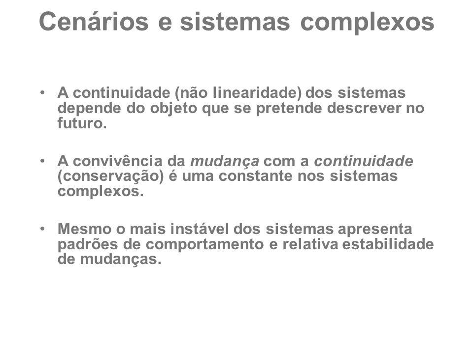Cenários e sistemas complexos A continuidade (não linearidade) dos sistemas depende do objeto que se pretende descrever no futuro. A convivência da mu