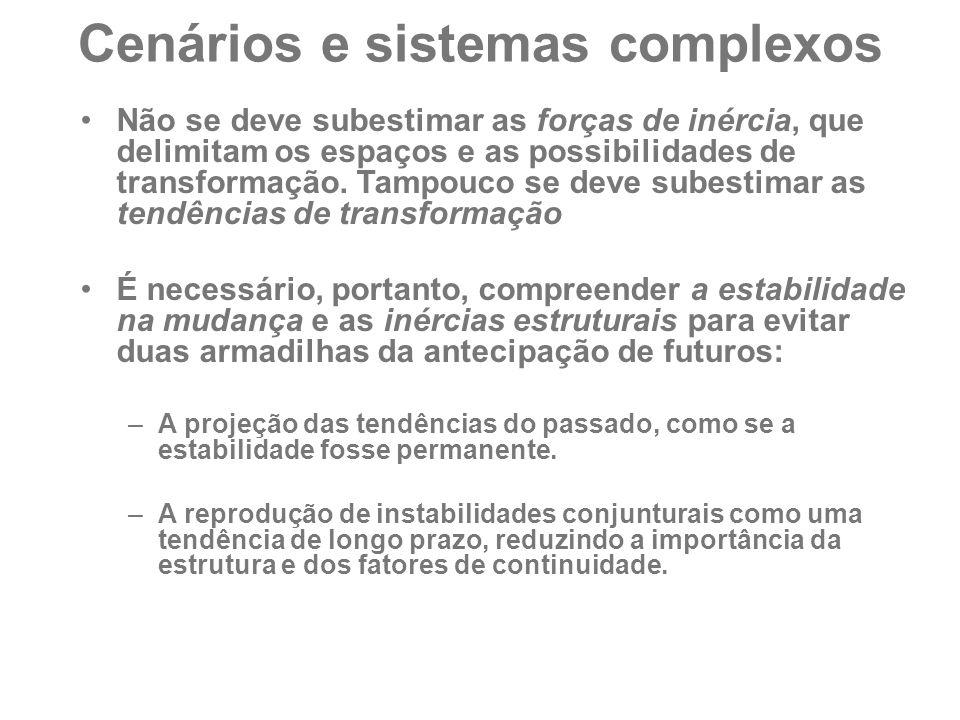 Cenários e sistemas complexos Não se deve subestimar as forças de inércia, que delimitam os espaços e as possibilidades de transformação. Tampouco se