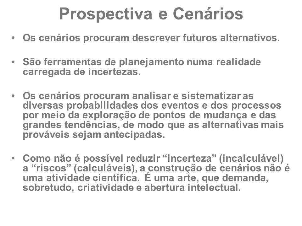 Prospectiva e Cenários Os cenários procuram descrever futuros alternativos. São ferramentas de planejamento numa realidade carregada de incertezas. Os
