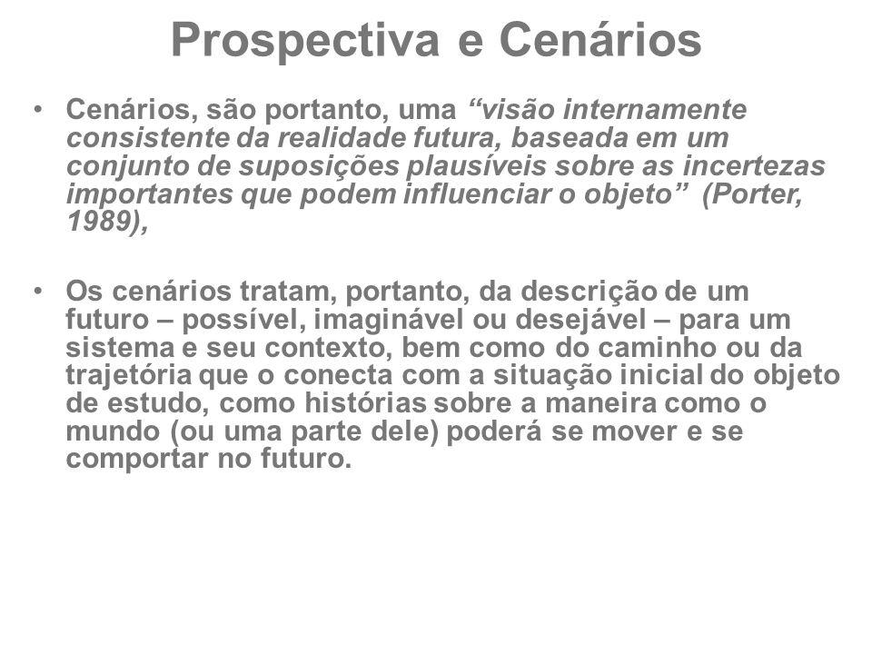 """Prospectiva e Cenários Cenários, são portanto, uma """"visão internamente consistente da realidade futura, baseada em um conjunto de suposições plausívei"""