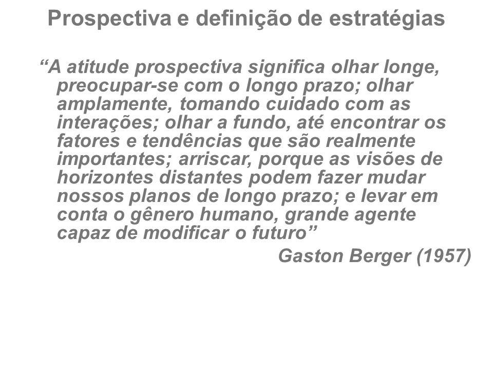 """Prospectiva e definição de estratégias """"A atitude prospectiva significa olhar longe, preocupar-se com o longo prazo; olhar amplamente, tomando cuidado"""