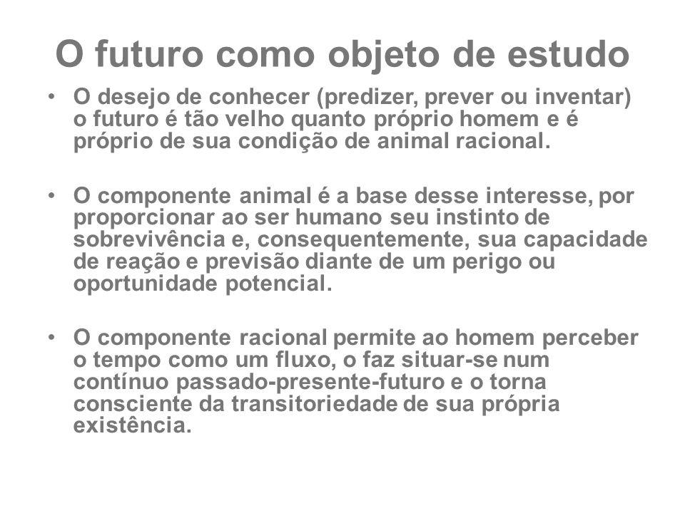 O futuro como objeto de estudo O desejo de conhecer (predizer, prever ou inventar) o futuro é tão velho quanto próprio homem e é próprio de sua condiç