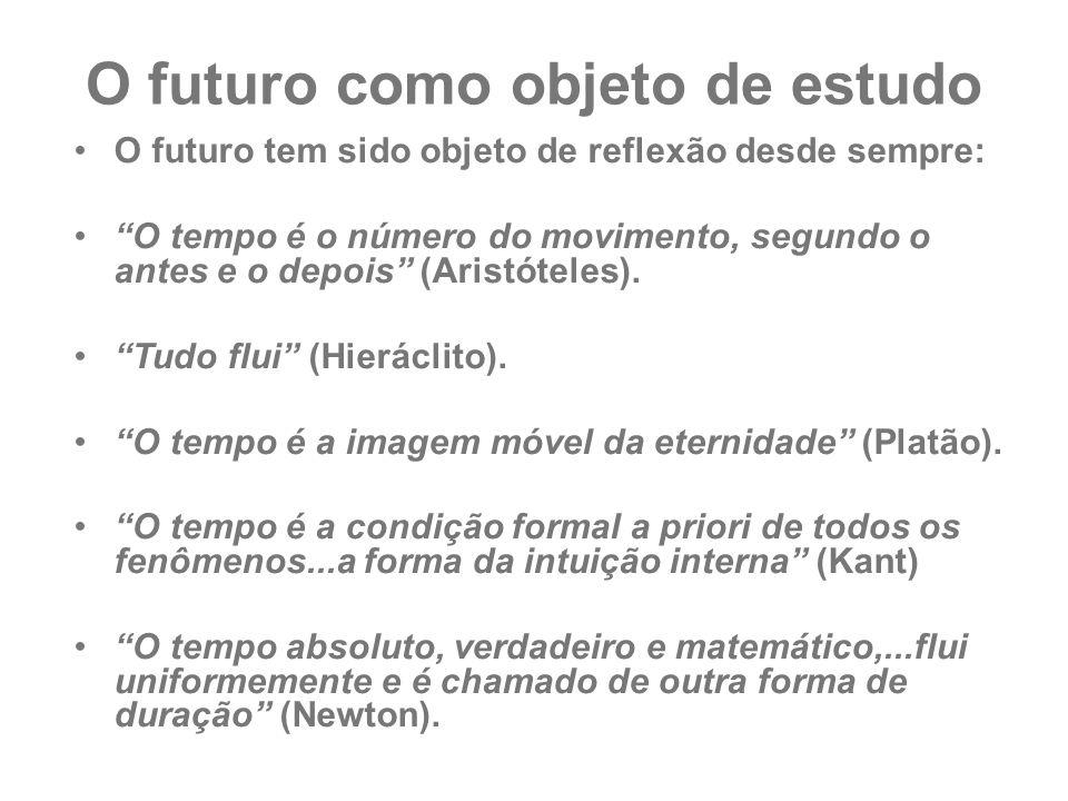 """O futuro como objeto de estudo O futuro tem sido objeto de reflexão desde sempre: """"O tempo é o número do movimento, segundo o antes e o depois"""" (Arist"""