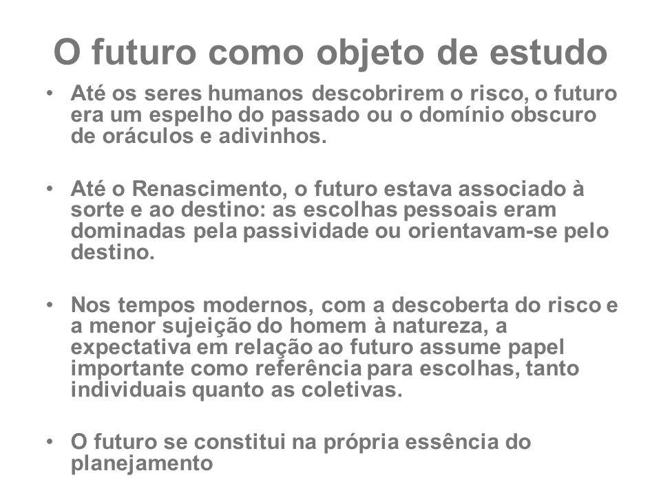 O futuro como objeto de estudo Até os seres humanos descobrirem o risco, o futuro era um espelho do passado ou o domínio obscuro de oráculos e adivinh