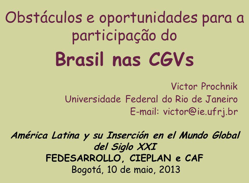 América Latina y su Inserción en el Mundo Global del Siglo XXI FEDESARROLLO, CIEPLAN e CAF Bogotá, 10 de maio, 2013 Victor Prochnik Universidade Feder
