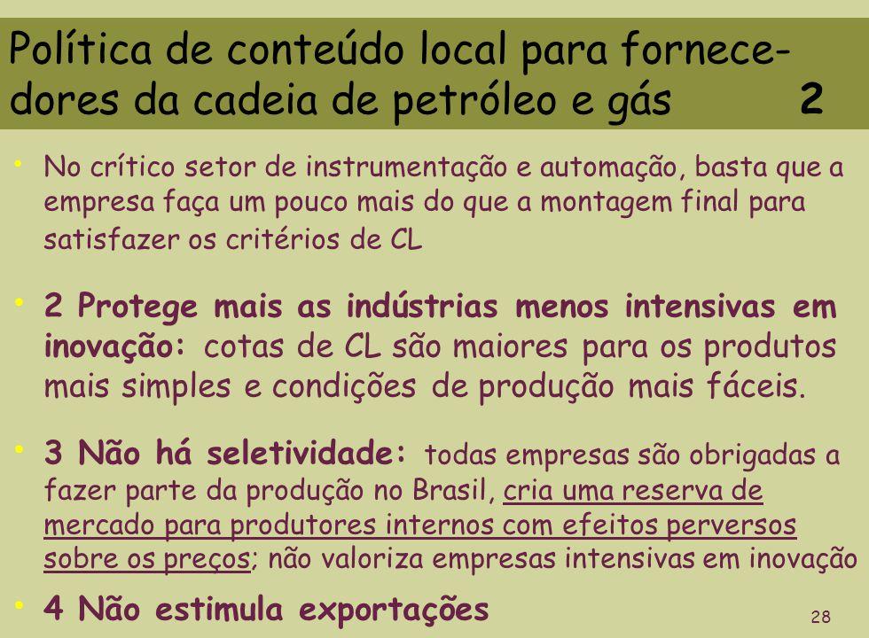 Política de conteúdo local para fornece- dores da cadeia de petróleo e gás 2 28 No crítico setor de instrumentação e automação, basta que a empresa fa