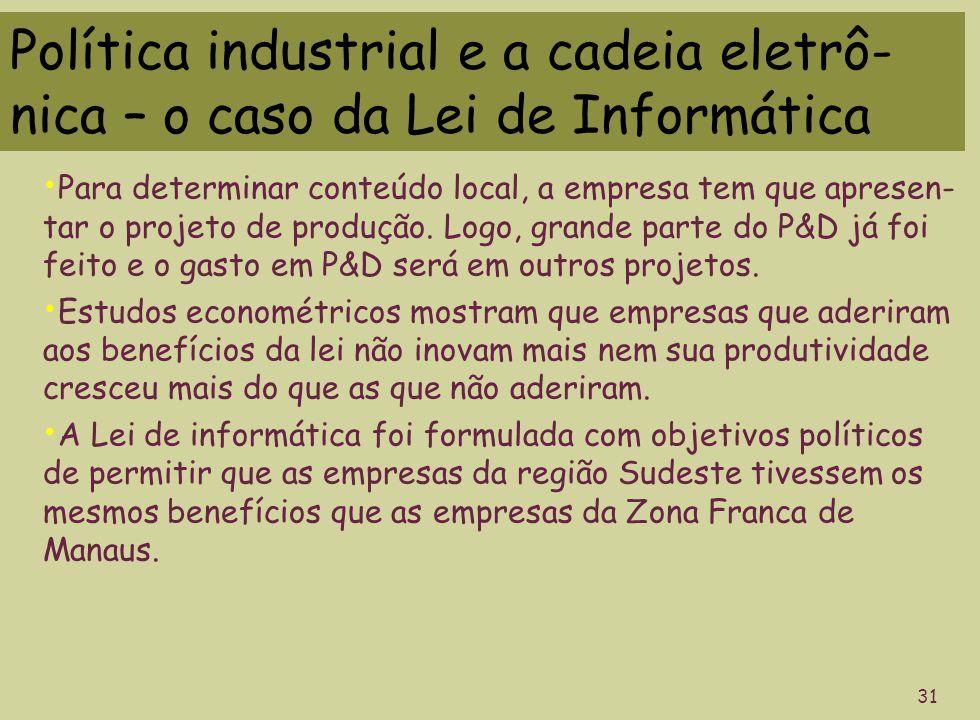 Política industrial e a cadeia eletrô- nica – o caso da Lei de Informática 31 Para determinar conteúdo local, a empresa tem que apresen- tar o projeto