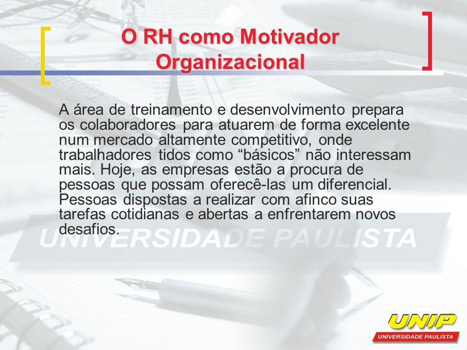 O RH como Motivador Organizacional A área de treinamento e desenvolvimento prepara os colaboradores para atuarem de forma excelente num mercado altame