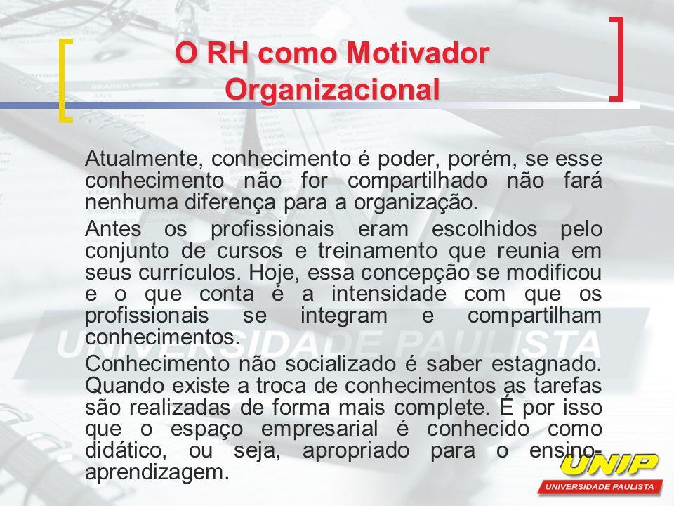 O RH como Motivador Organizacional Atualmente, conhecimento é poder, porém, se esse conhecimento não for compartilhado não fará nenhuma diferença para