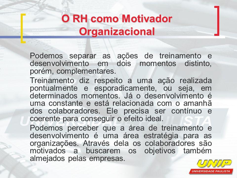 O RH como Motivador Organizacional Podemos separar as ações de treinamento e desenvolvimento em dois momentos distinto, porém, complementares. Treinam