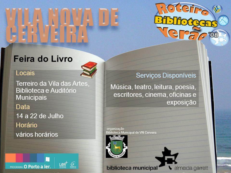 Local Clube Recreativo Penichense Data 11 de Julho a 4 de Agosto Horário Todos os dias 15h00 | 23h30 Feira do Livro Serviços Disponíveis Feira do livro que conta com a participação de 18 editoras.