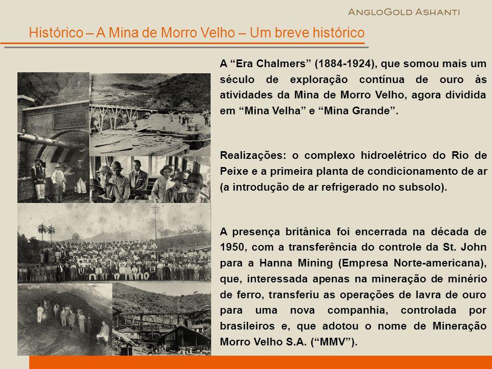 """A """"Era Chalmers"""" (1884-1924), que somou mais um século de exploração contínua de ouro às atividades da Mina de Morro Velho, agora dividida em """"Mina Ve"""