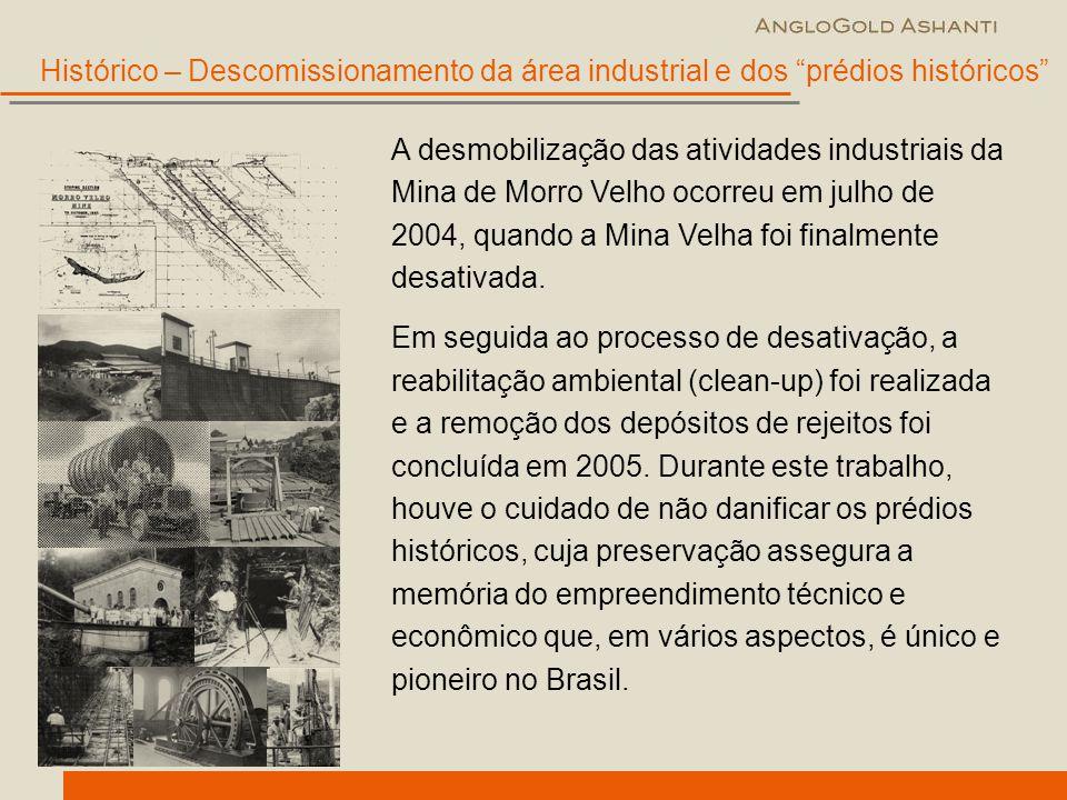 A desmobilização das atividades industriais da Mina de Morro Velho ocorreu em julho de 2004, quando a Mina Velha foi finalmente desativada. Em seguida