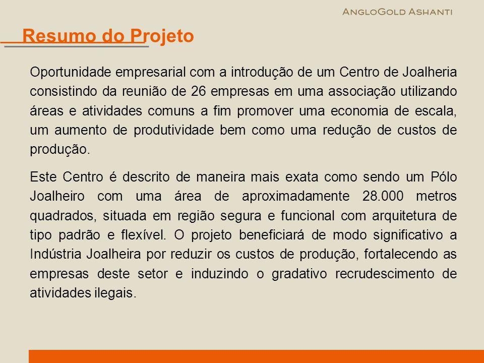 Oportunidade empresarial com a introdução de um Centro de Joalheria consistindo da reunião de 26 empresas em uma associação utilizando áreas e ativida