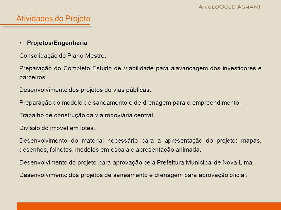 Atividades do Projeto Projetos/Engenharia Consolidação do Plano Mestre. Preparação do Completo Estudo de Viabilidade para alavancagem dos investidores