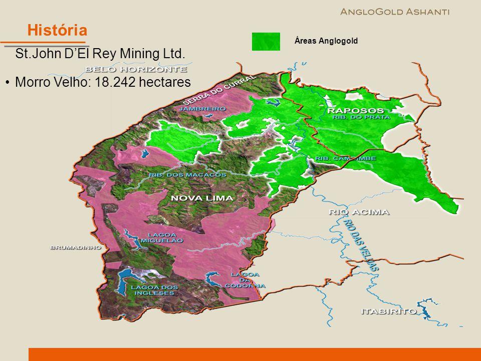 St.John D'El Rey Mining Ltd. Morro Velho: 18.242 hectares Áreas Anglogold História