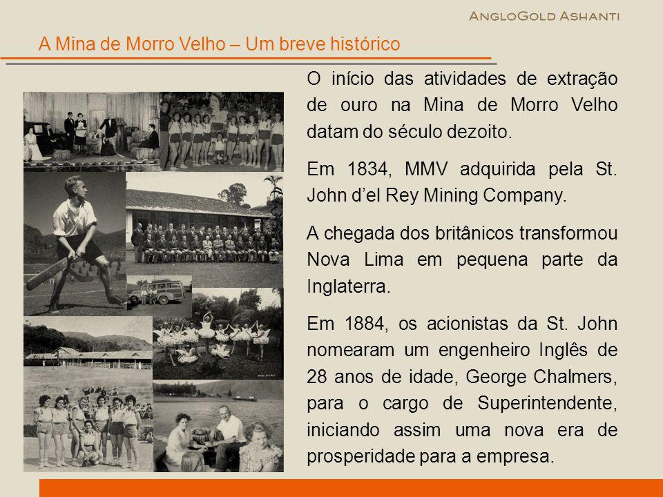 A Mina de Morro Velho – Um breve histórico O início das atividades de extração de ouro na Mina de Morro Velho datam do século dezoito. Em 1834, MMV ad