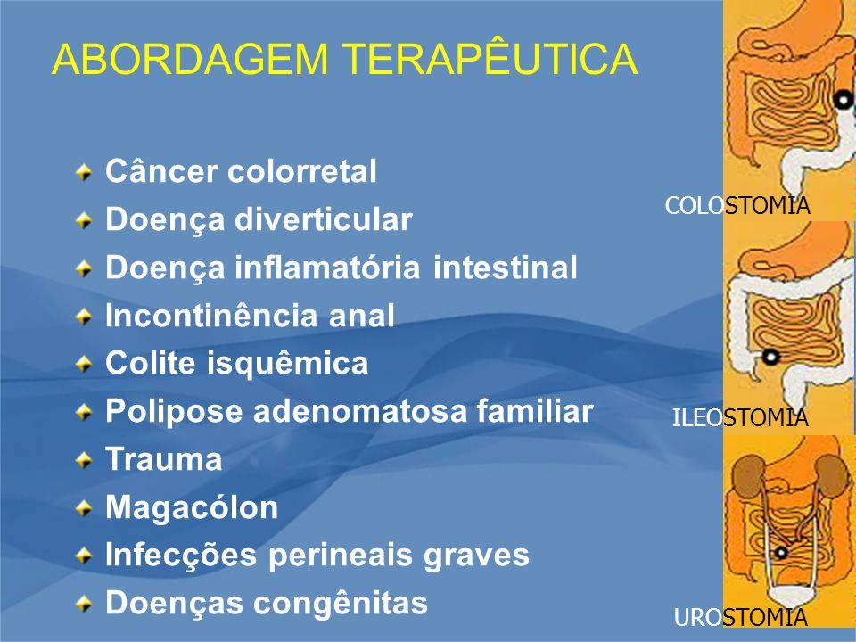 ABORDAGEM TERAPÊUTICA COLOSTOMIA ILEOSTOMIA UROSTOMIA Câncer colorretal Doença diverticular Doença inflamatória intestinal Incontinência anal Colite isquêmica Polipose adenomatosa familiar Trauma Magacólon Infecções perineais graves Doenças congênitas