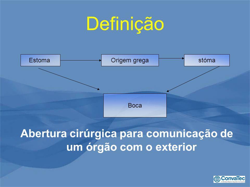 Definição Abertura cirúrgica para comunicação de um órgão com o exterior EstomaOrigem gregastóma Boca