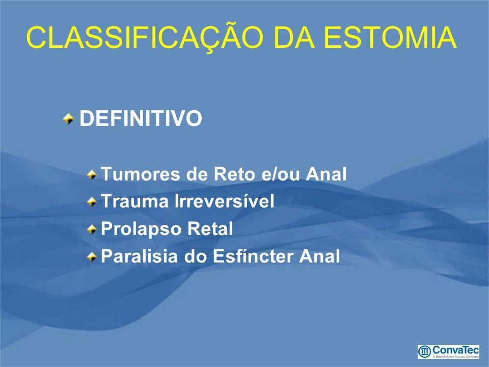 DEFINITIVO Tumores de Reto e/ou Anal Trauma Irreversível Prolapso Retal Paralisia do Esfíncter Anal CLASSIFICAÇÃO DA ESTOMIA