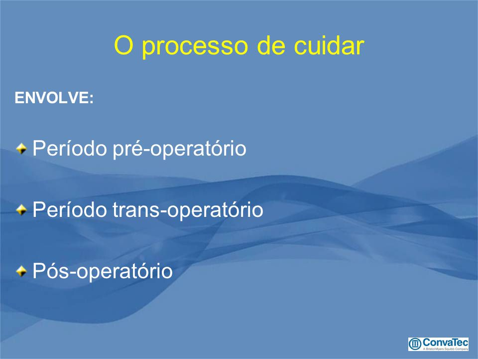 O processo de cuidar ENVOLVE: Período pré-operatório Período trans-operatório Pós-operatório