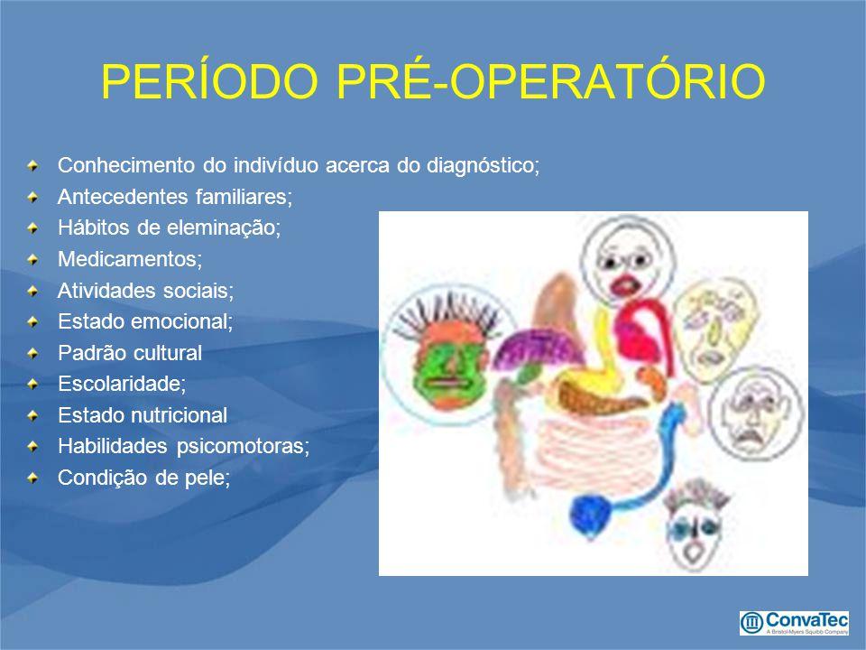 PERÍODO PRÉ-OPERATÓRIO Conhecimento do indivíduo acerca do diagnóstico; Antecedentes familiares; Hábitos de eleminação; Medicamentos; Atividades socia