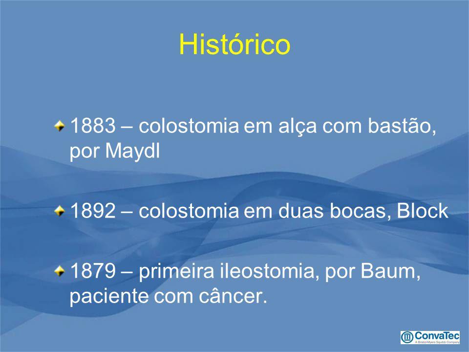 Histórico 1883 – colostomia em alça com bastão, por Maydl 1892 – colostomia em duas bocas, Block 1879 – primeira ileostomia, por Baum, paciente com câncer.