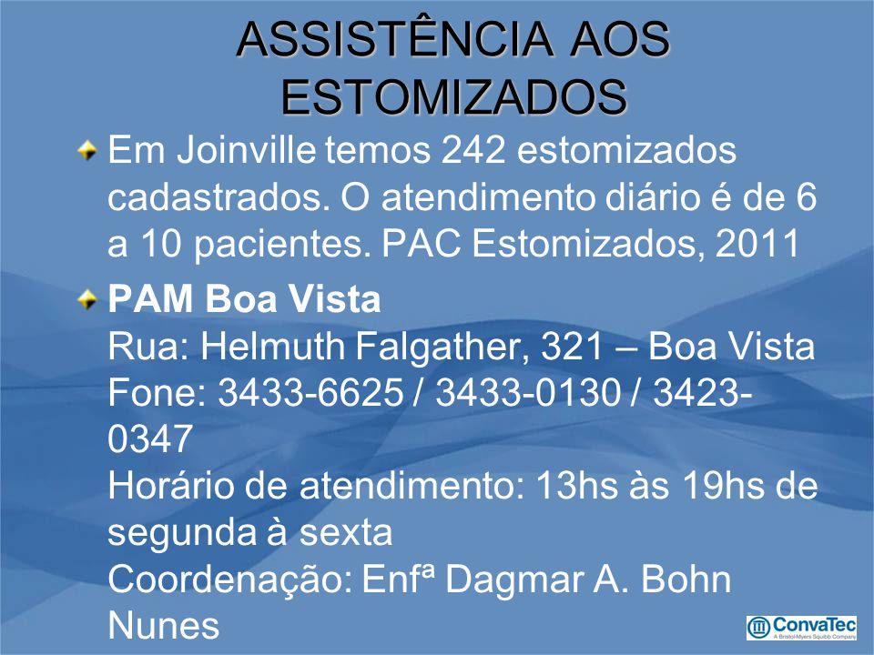 Em Joinville temos 242 estomizados cadastrados. O atendimento diário é de 6 a 10 pacientes. PAC Estomizados, 2011 PAM Boa Vista Rua: Helmuth Falgather