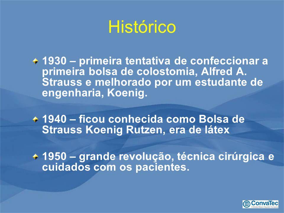 Histórico 1930 – primeira tentativa de confeccionar a primeira bolsa de colostomia, Alfred A. Strauss e melhorado por um estudante de engenharia, Koen