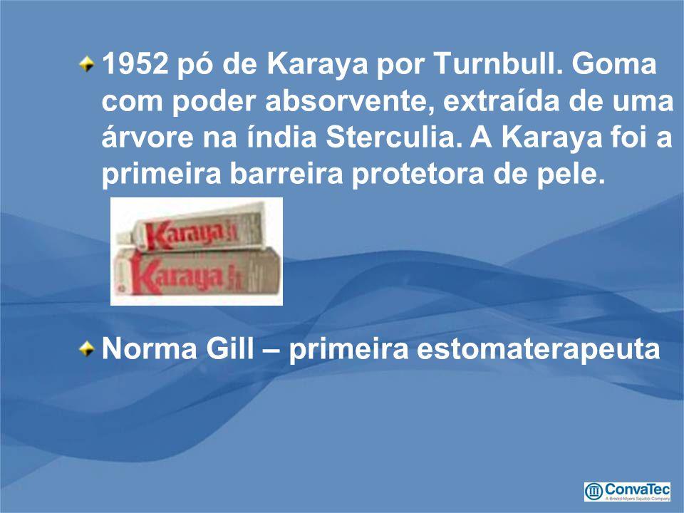 1952 pó de Karaya por Turnbull. Goma com poder absorvente, extraída de uma árvore na índia Sterculia. A Karaya foi a primeira barreira protetora de pe