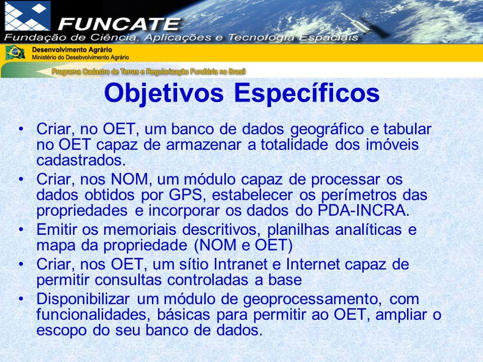 Objetivos Específicos Criar, no OET, um banco de dados geográfico e tabular no OET capaz de armazenar a totalidade dos imóveis cadastrados.