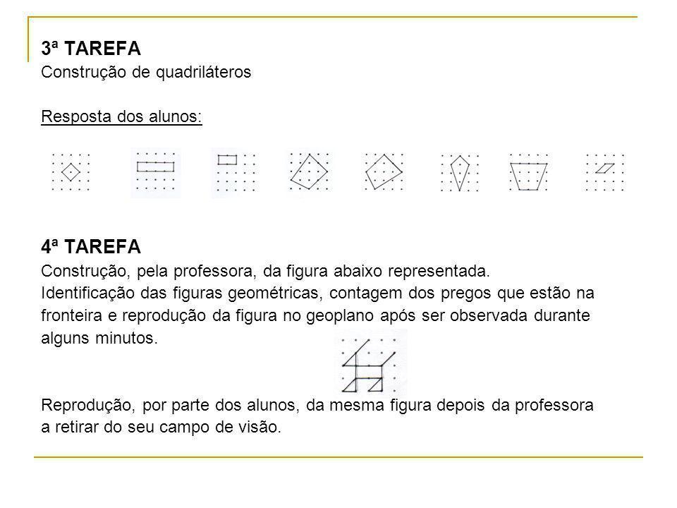 3ª TAREFA Construção de quadriláteros Resposta dos alunos: 4ª TAREFA Construção, pela professora, da figura abaixo representada. Identificação das fig