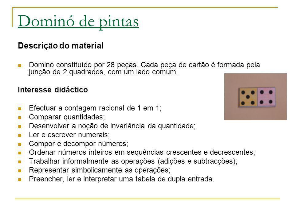Dominó de pintas Descrição do material Dominó constituído por 28 peças. Cada peça de cartão é formada pela junção de 2 quadrados, com um lado comum. I