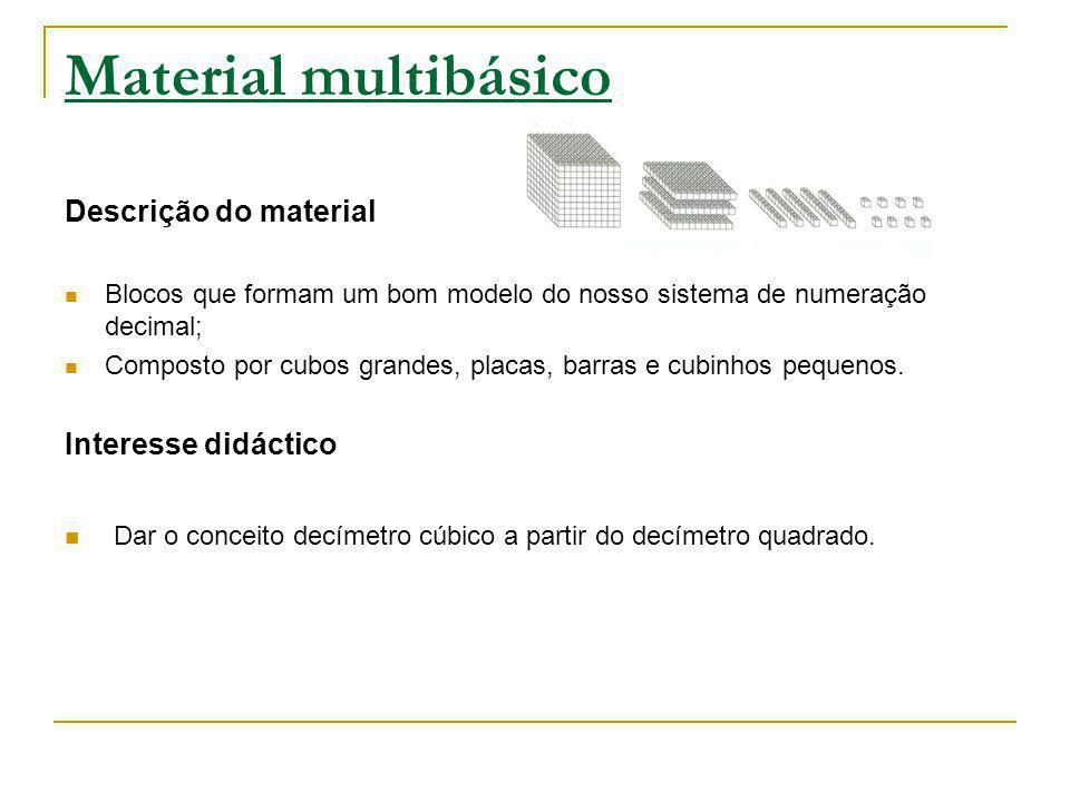 Material multibásico Descrição do material Blocos que formam um bom modelo do nosso sistema de numeração decimal; Composto por cubos grandes, placas,