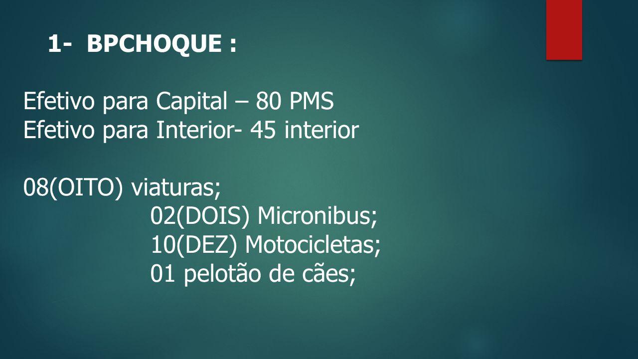 1- BPCHOQUE : Efetivo para Capital – 80 PMS Efetivo para Interior- 45 interior 08(OITO) viaturas; 02(DOIS) Micronibus; 10(DEZ) Motocicletas; 01 pelotão de cães;